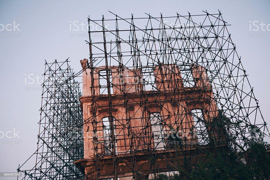 Old architecture renovation in Havana, Cuba stock photo