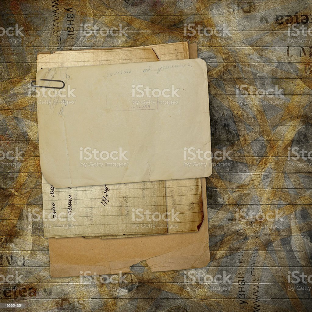 Old archive with letters, photos on the abstract background stock photo