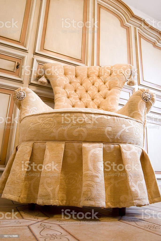 old armchair with orange fabric royalty-free stock photo