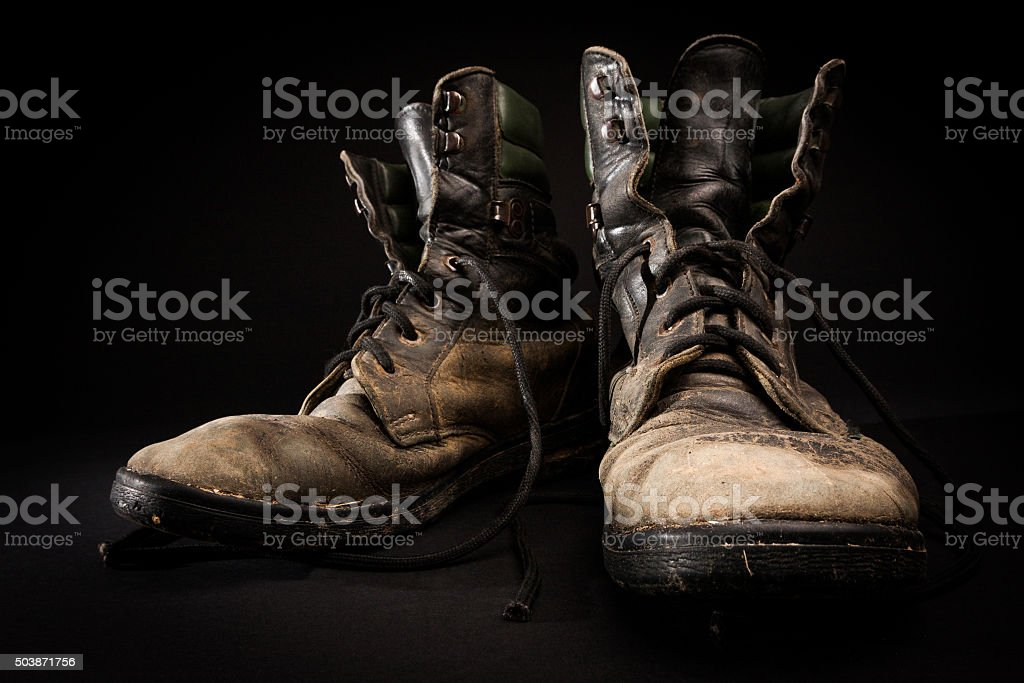 Old army boots stock photo