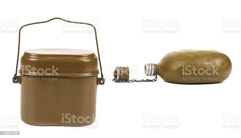 Old army canteen and green mess-tin. stock photo