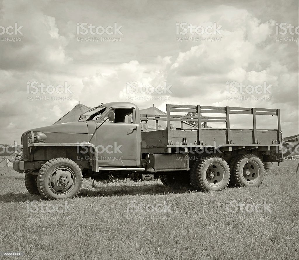 Old army truck stock photo