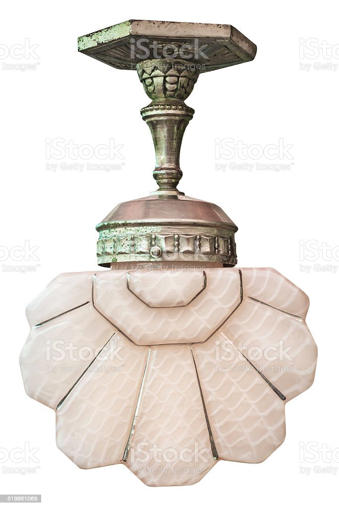 Old art deco lamp isolated on white stock photo