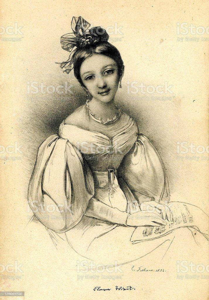 Old Art Engraving Clara Shouman royalty-free stock photo
