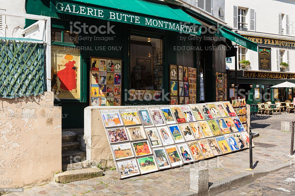 Old art prints for sale in Montmartre gallery, Paris, France royalty-free stock photo