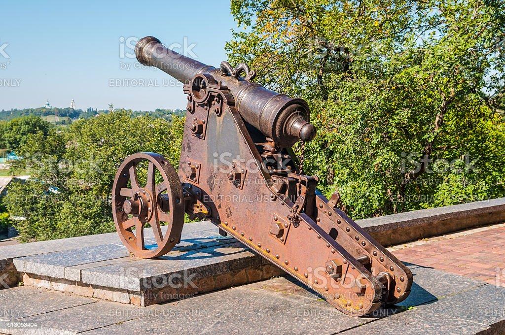 Old artillery cannon in Chernihiv stock photo