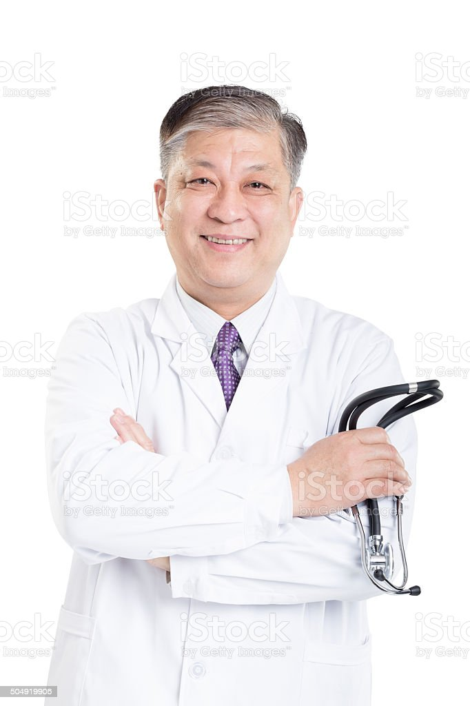old asian man doctor in white suit with stethoscope stock photo