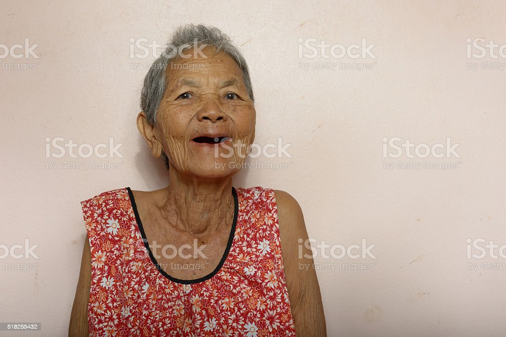 Old Asian woman stock photo