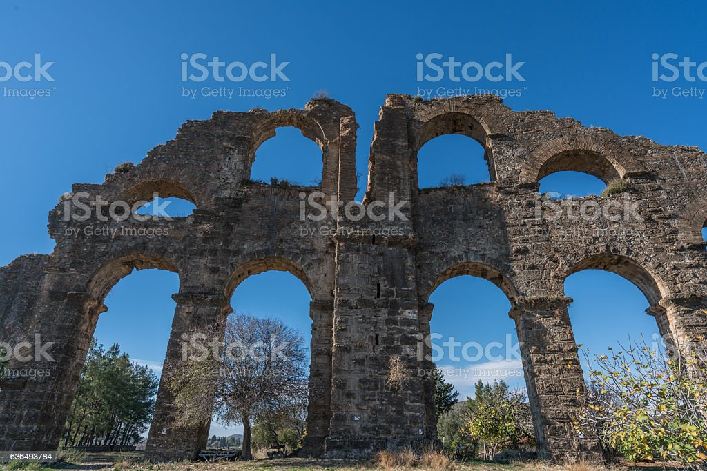 old aspendos belkıs aqueduct stock photo
