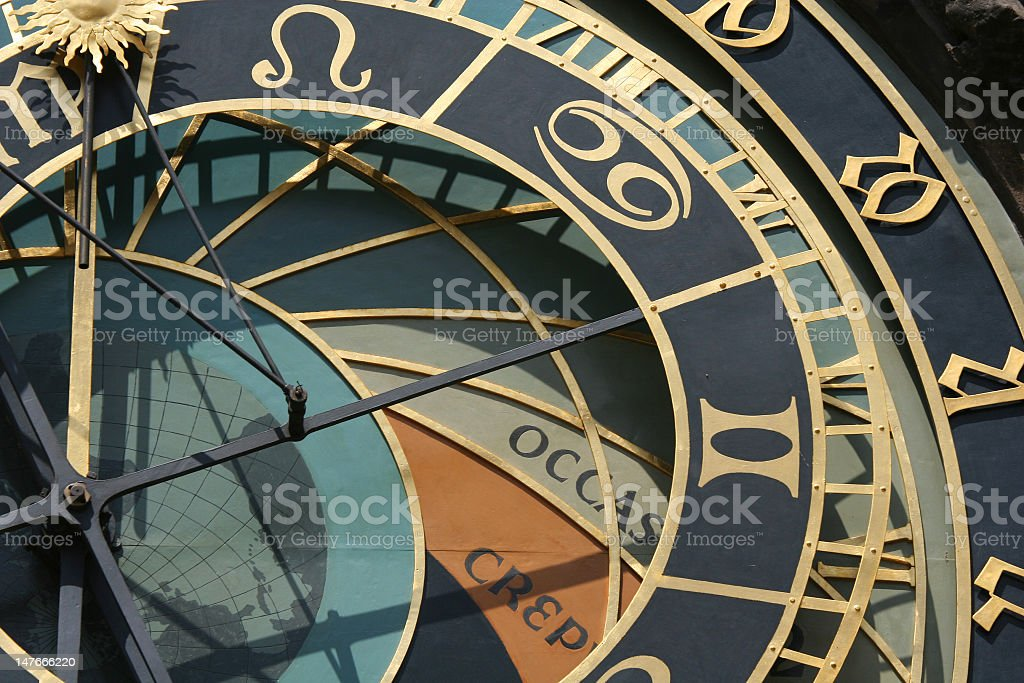 Old astronomical clock in Prague, Czech republic stock photo