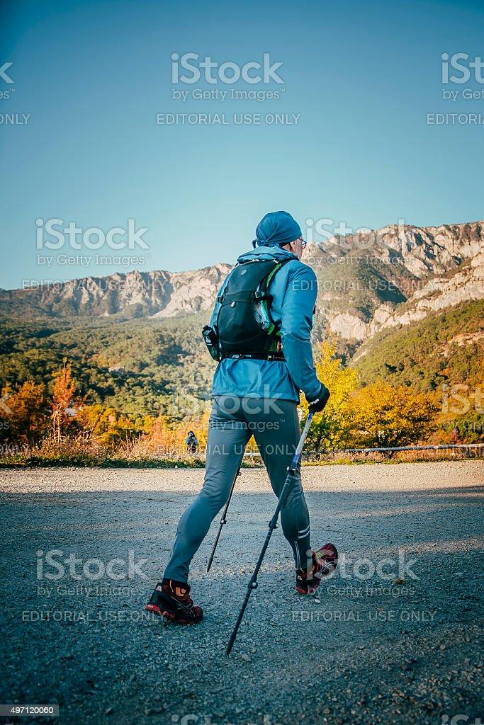 늙음 선수 하수관 마라톤 (걷기 스틱 royalty-free 스톡 사진