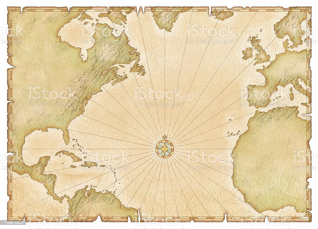 Old Atlantic Map stock photo