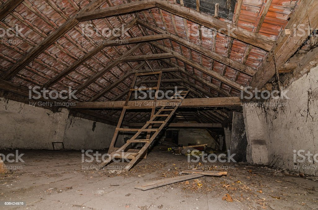 old attic space stock photo
