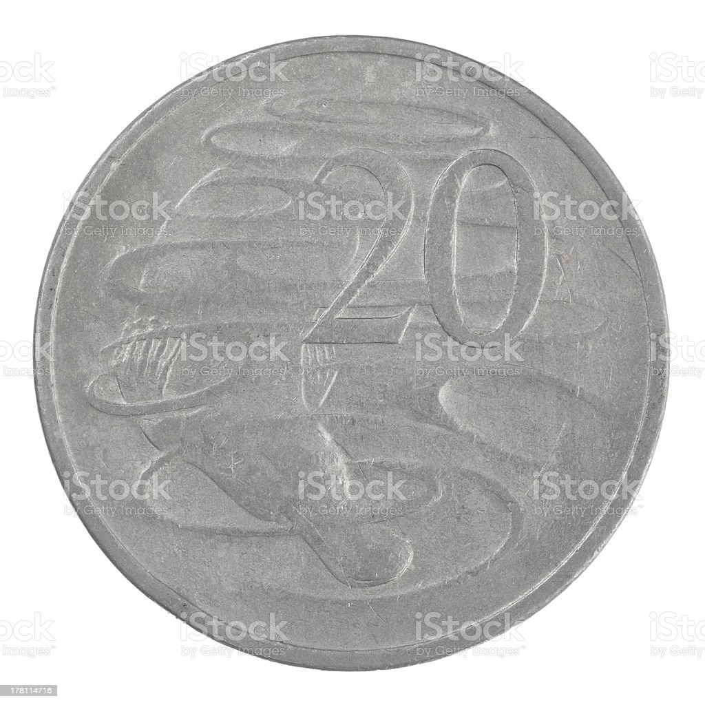old Australian 20 cent coin isolated on a white background royalty-free stock photo