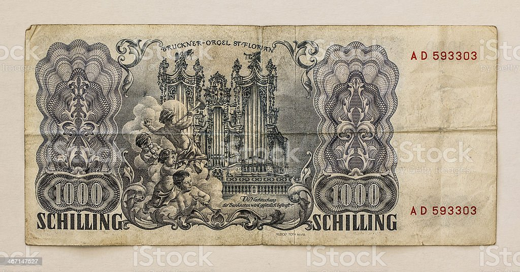 Old Austrian Banknote: 1000 Schilling 1954 stock photo