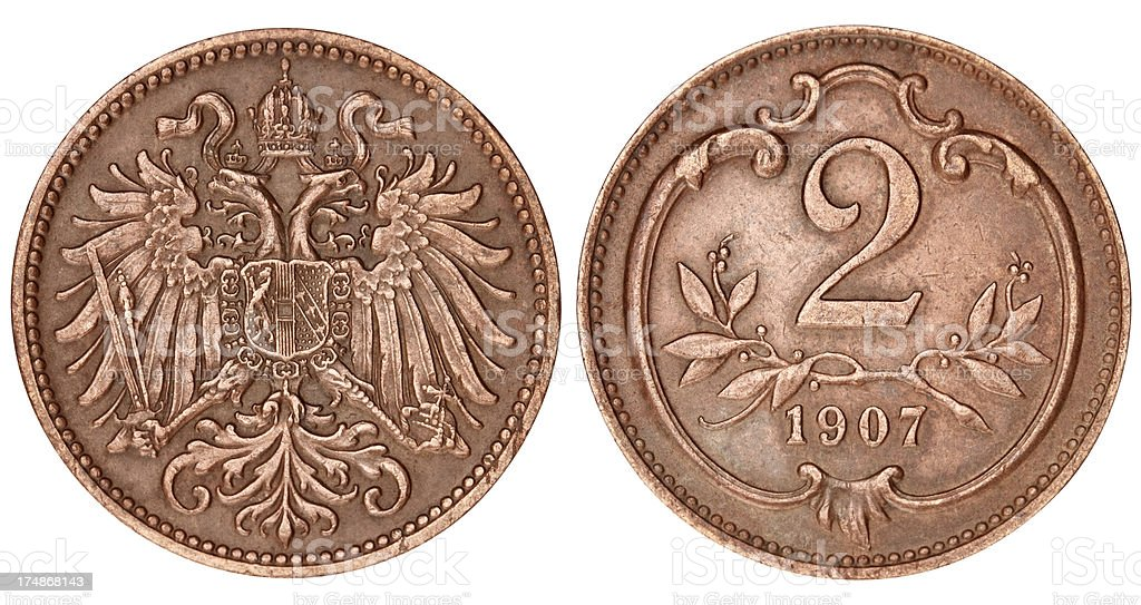 Old Austrian Coin on white background royalty-free stock photo