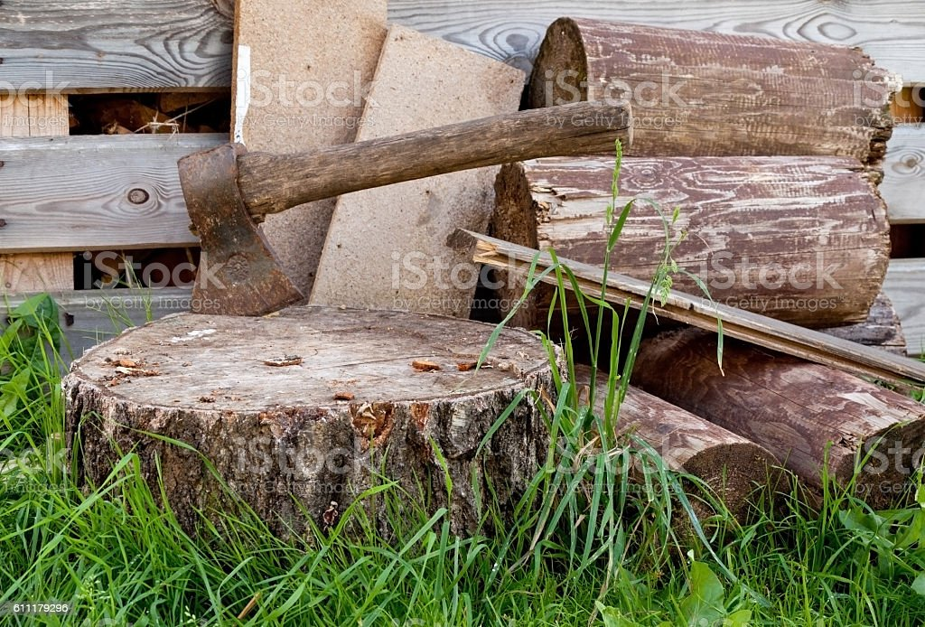 Old ax in the wooden, cracked tree stump on a stock photo
