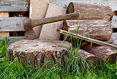 Old ax in the wooden, cracked tree stump on a
