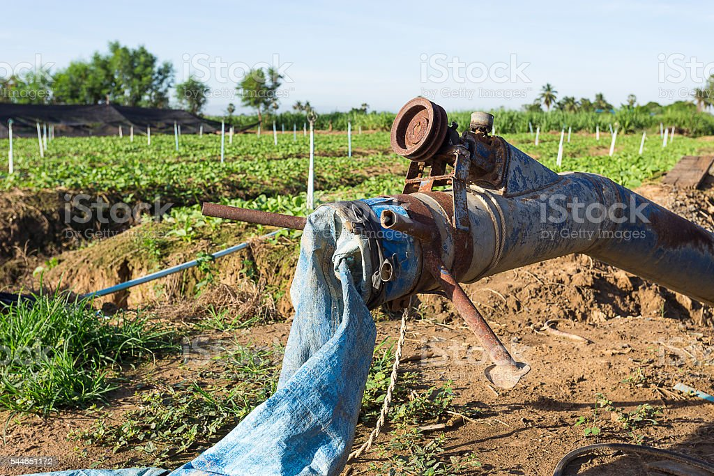Old axial pump in farm stock photo