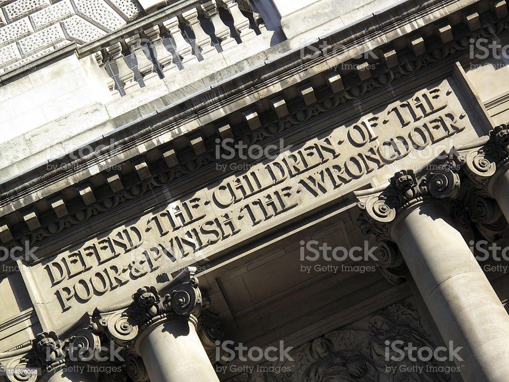 Old Bailey Entrance Inscription royalty-free stock photo