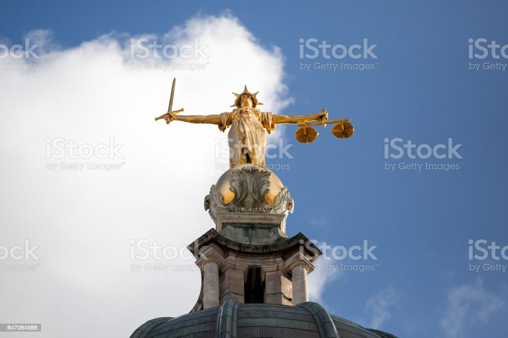 Old Bailey Stature stock photo