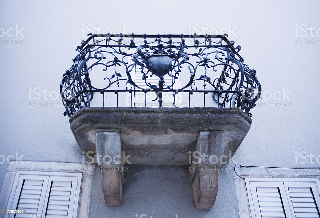 Old Balcony in Dobrinj stock photo