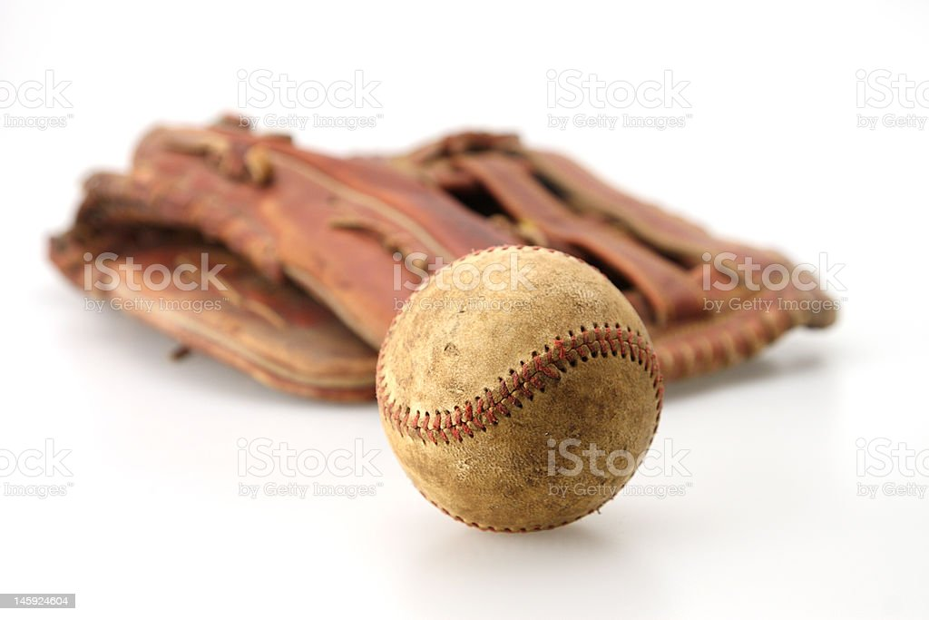 Old Ball and Glove royalty-free stock photo
