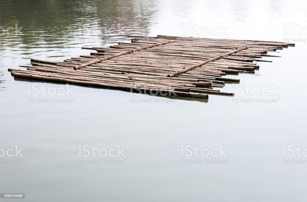 Old bamboo raft stock photo