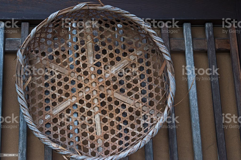 Old bamboo wicker basket on the wooden wall stock photo
