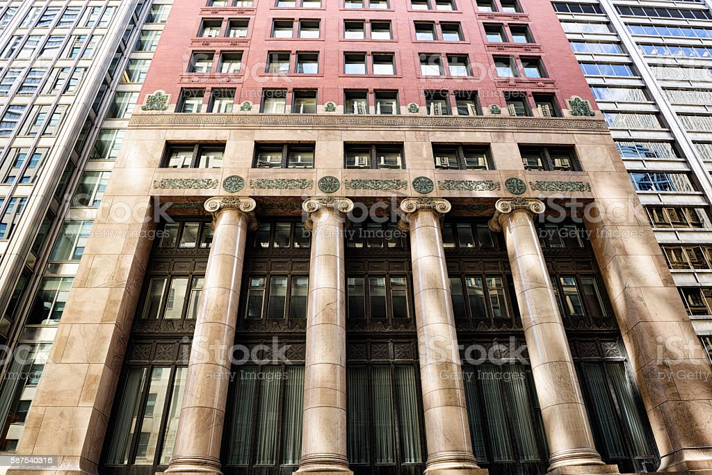 Old Bank Building,  downtown Chicago stock photo