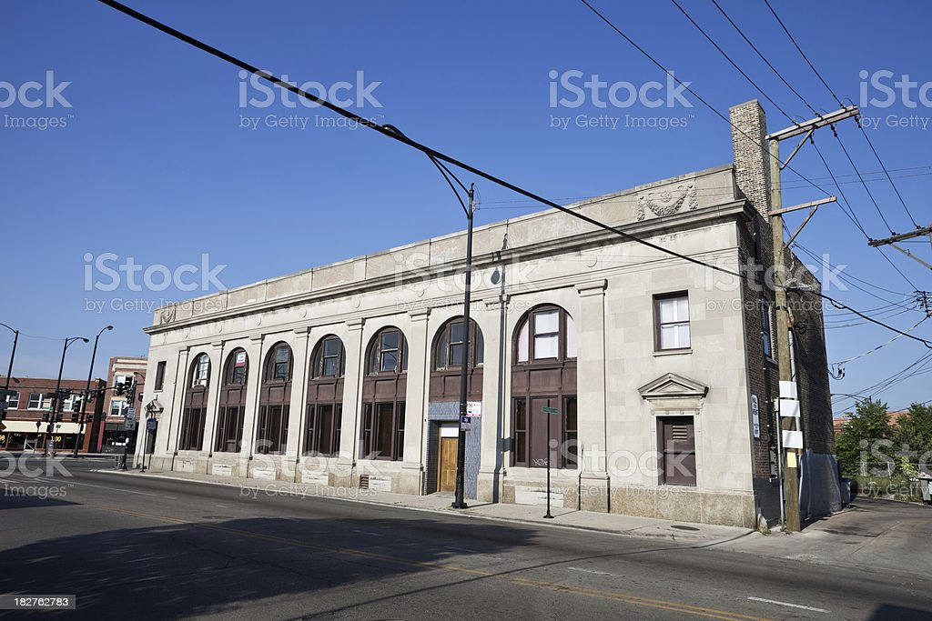 Old Bank Building in a Chicago North Side Neighborhood stock photo