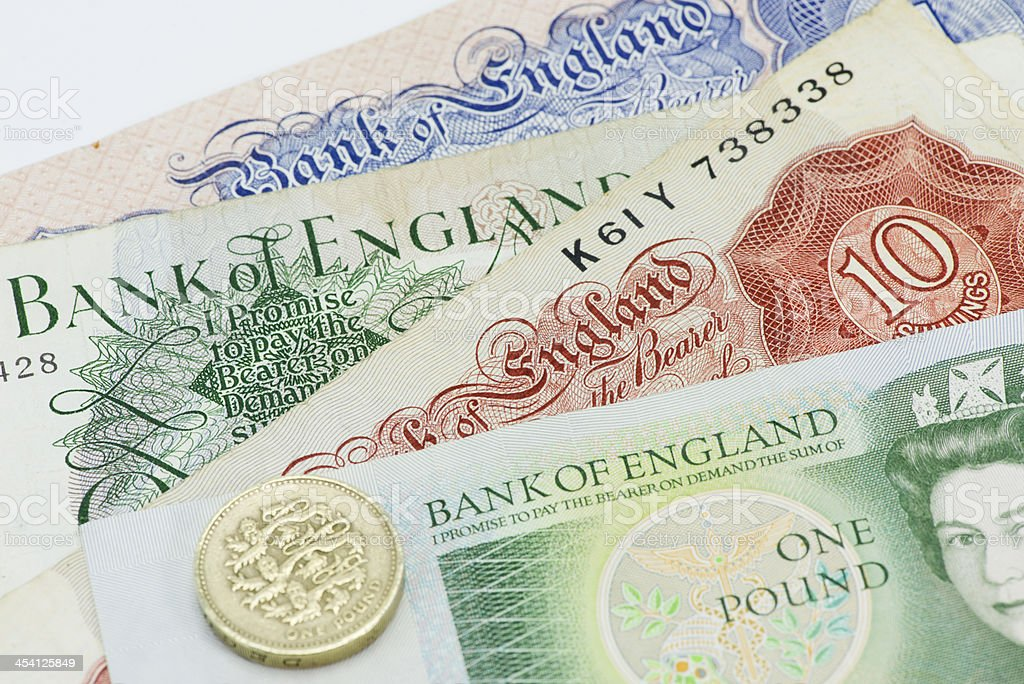 Old Bank of England notes royalty-free stock photo