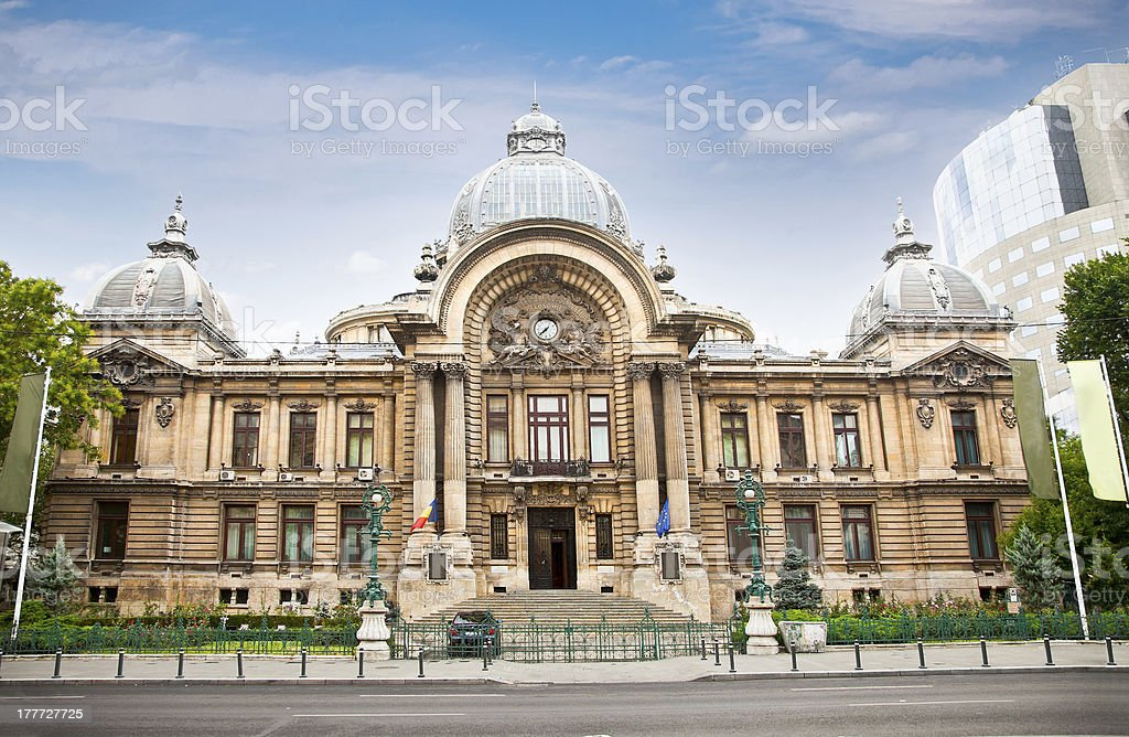 Old bank office in down town Bucharest. royalty-free stock photo