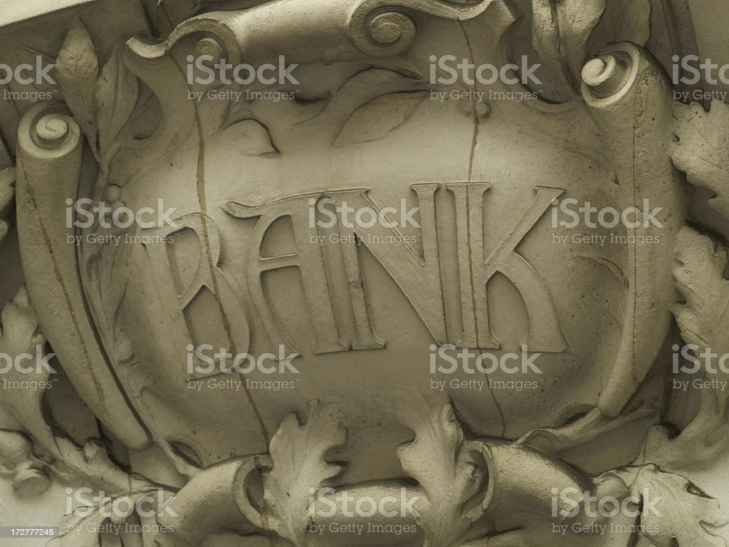 Old bank sign royalty-free stock photo
