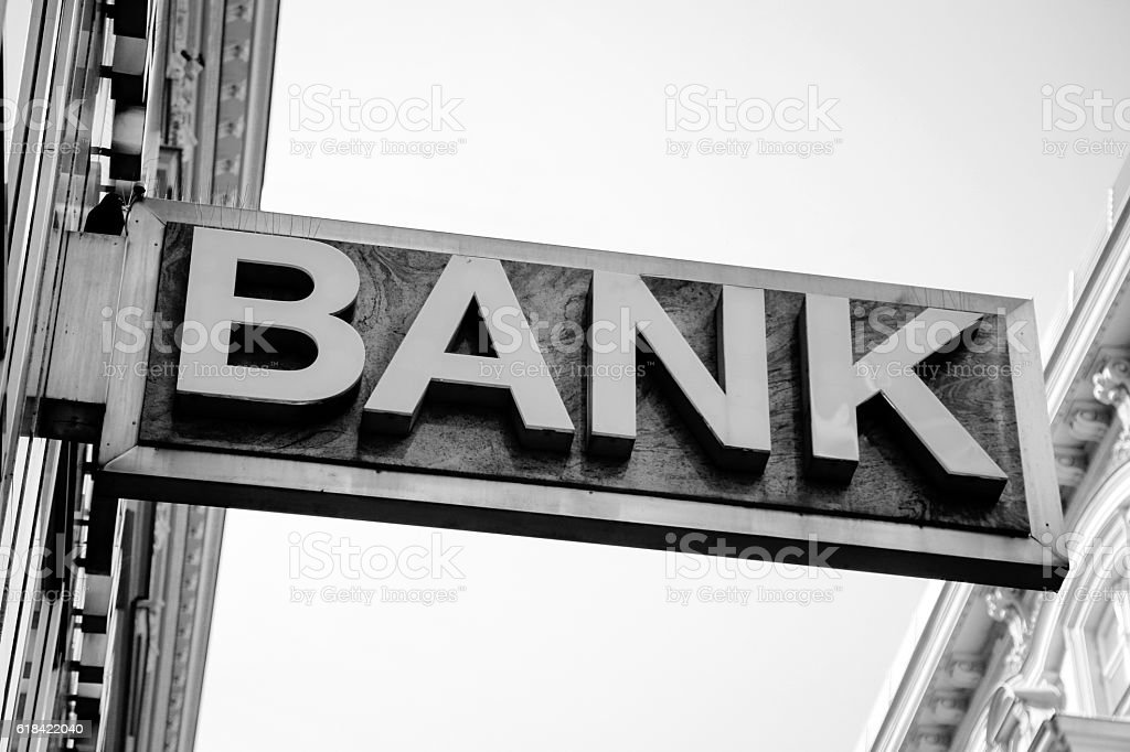 Old Bank Sign stock photo
