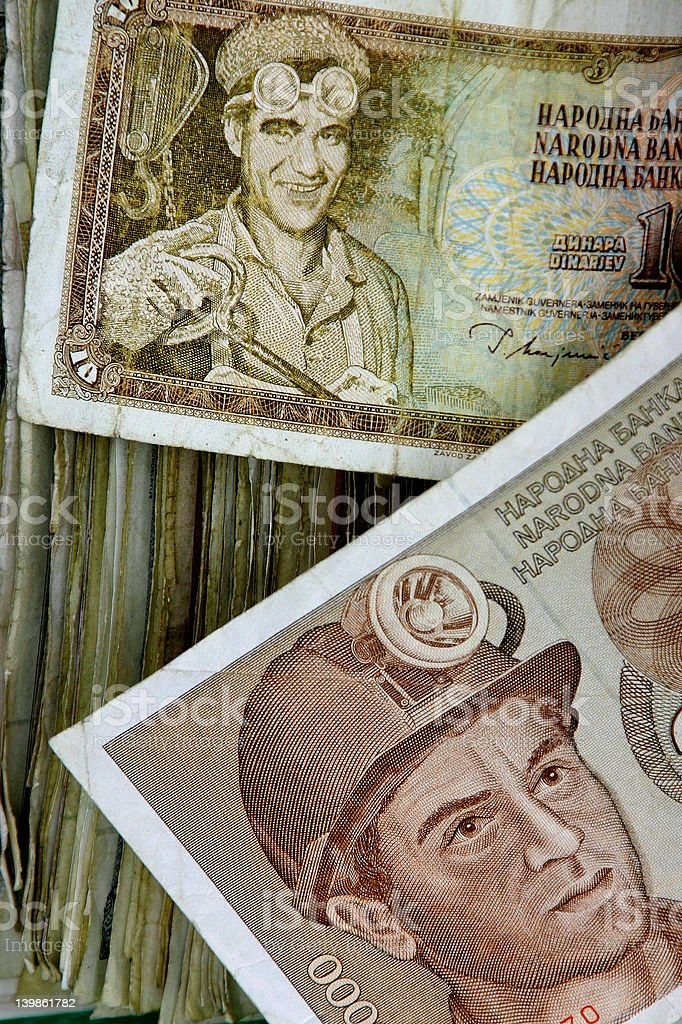 Old bank-bill with motive of workers stock photo