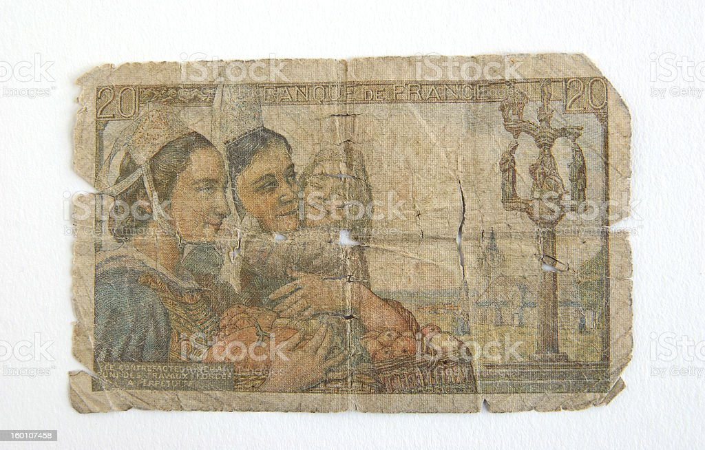 Old Banknote from France stock photo