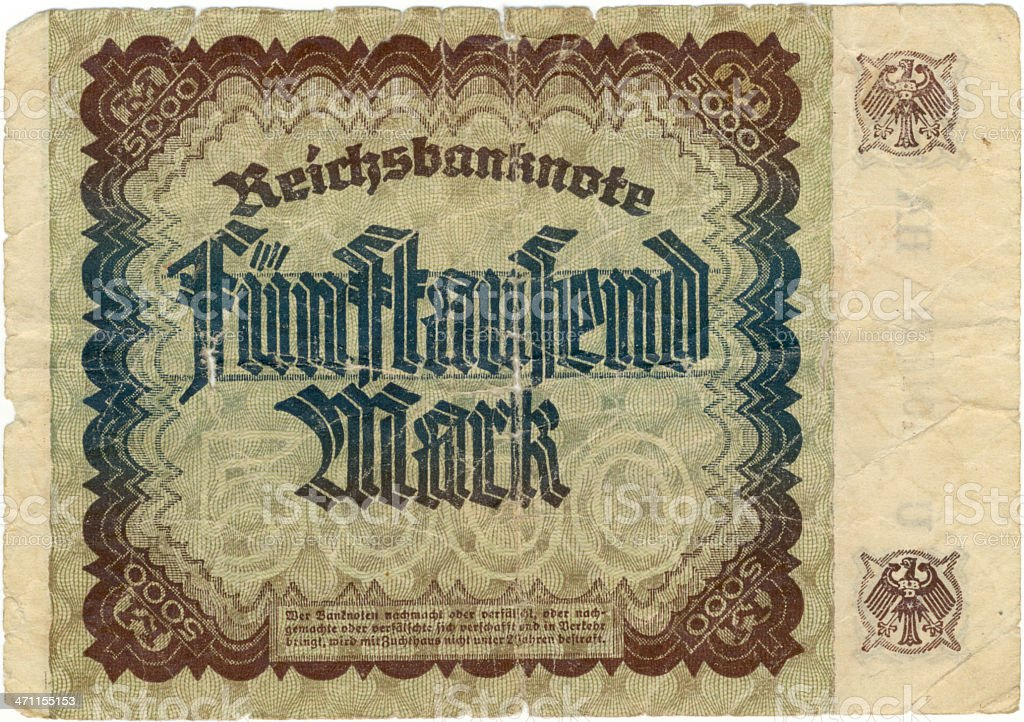 "Old banknote from the ""Deutsches Reich"" 1922 (Back) stock photo"