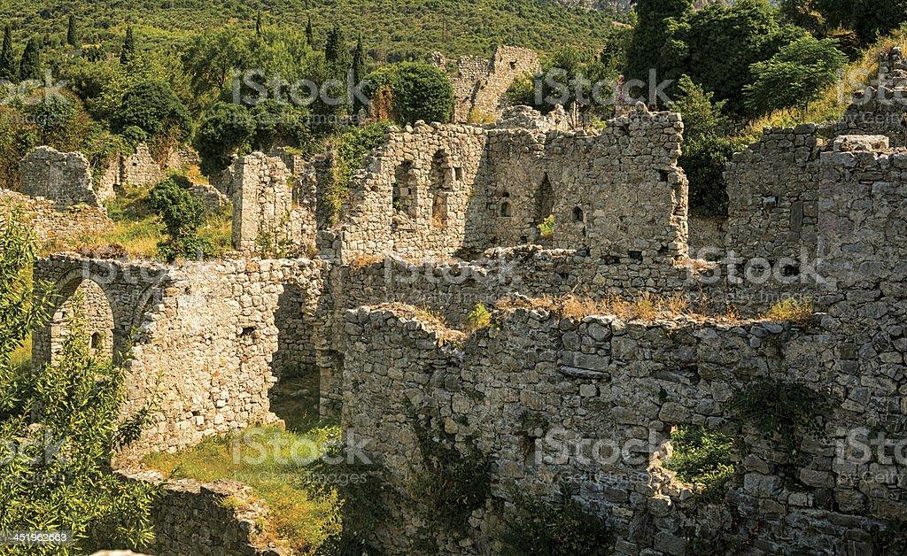 Old Bar, Montenegro, Ruins of palace stock photo