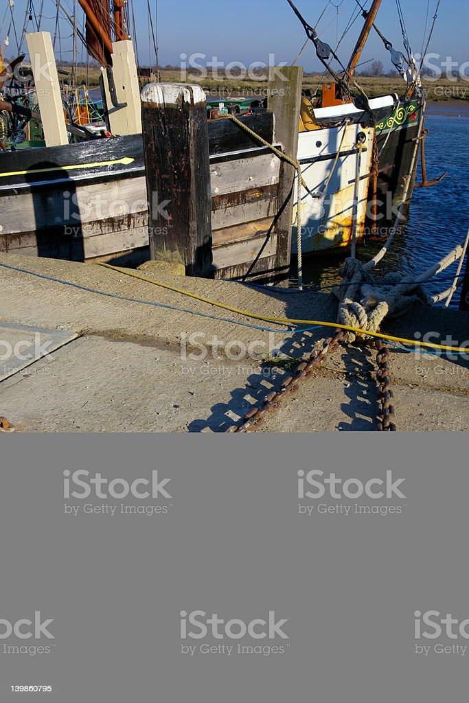Old barges in Maldon, England stock photo