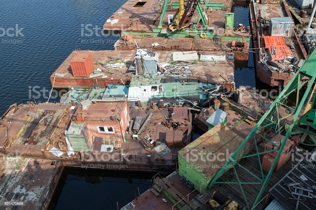 Old barges in the port stock photo