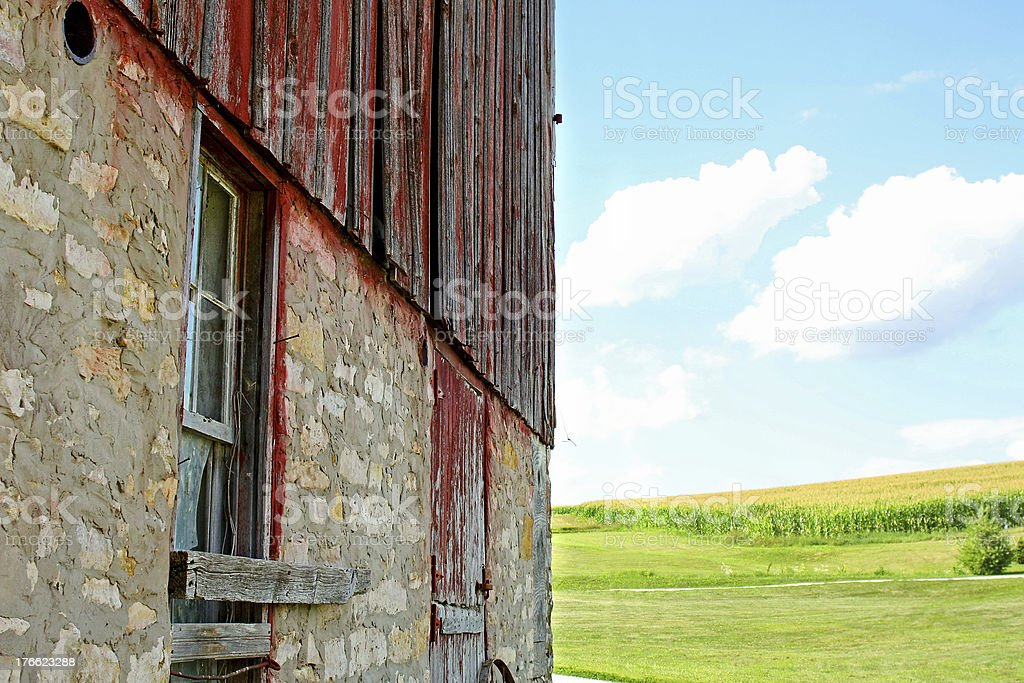 Old Barn and Cornfield royalty-free stock photo