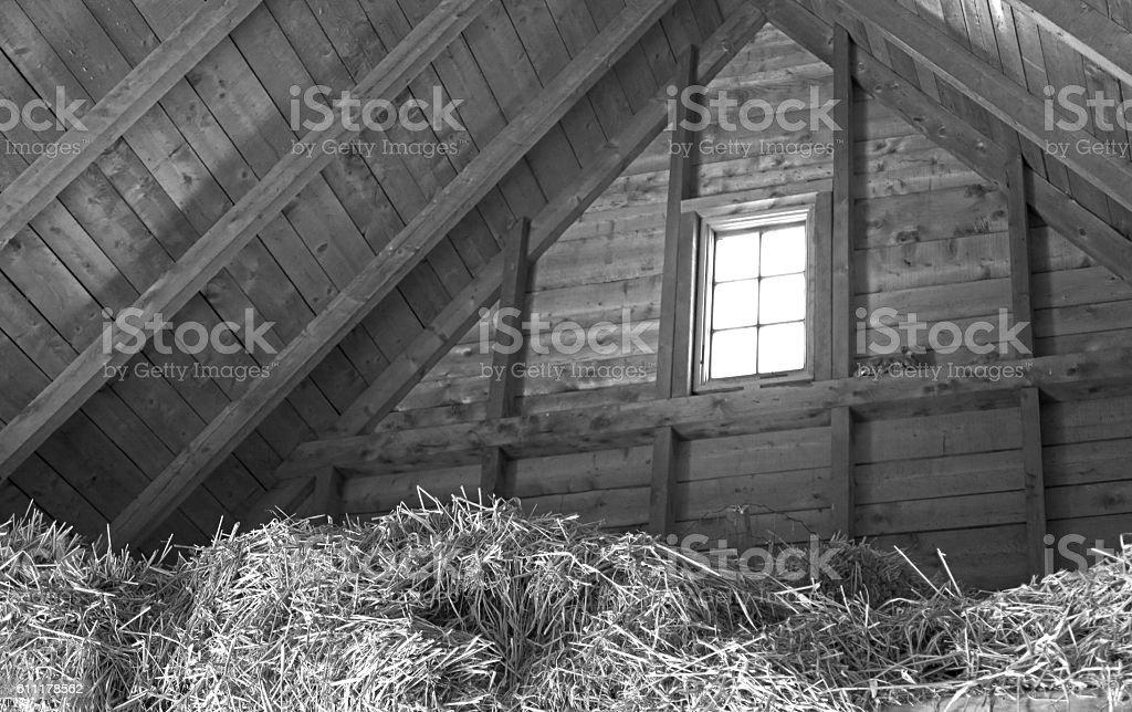 Old barn hay loft in black and white,  sunlight  window stock photo