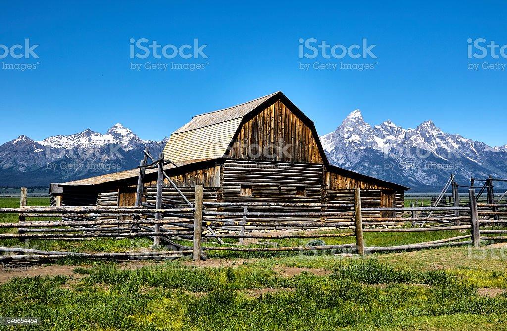 Old Barn, Mormon Row, Grand Tetons, Wyoming stock photo