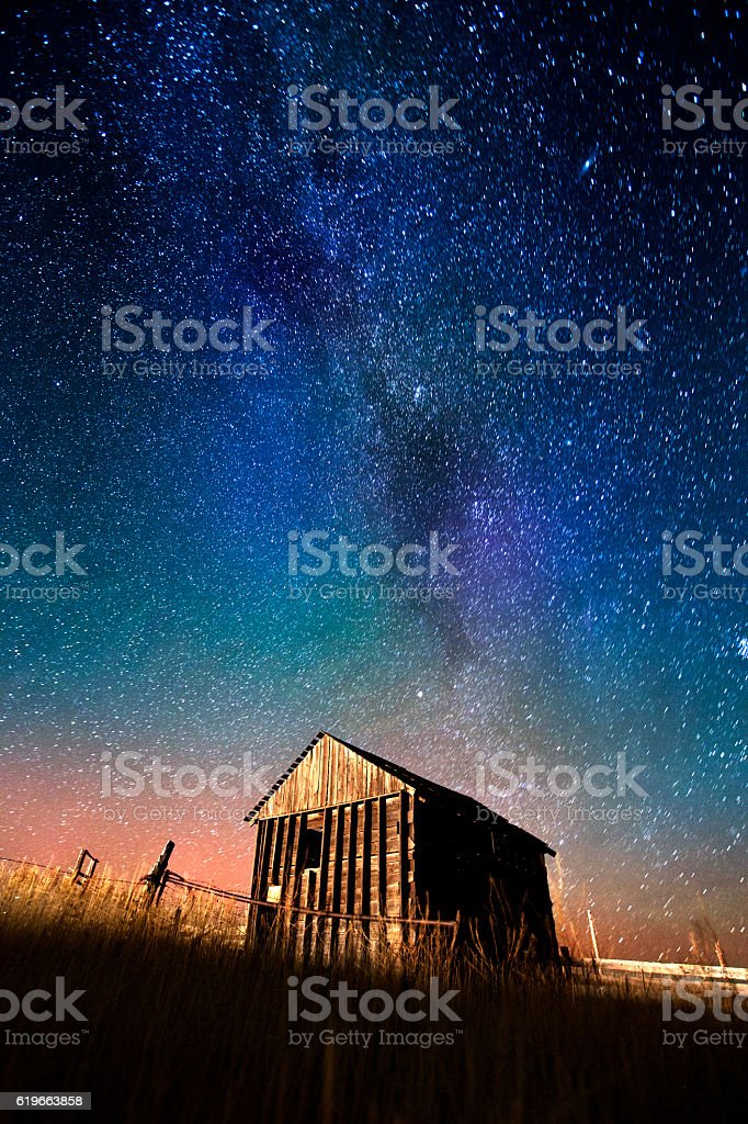 Old Barn Starry Night stock photo