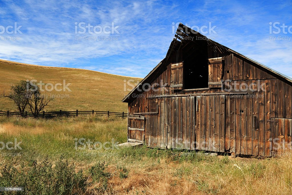 Old Barn Sunny Day Dramatic stock photo
