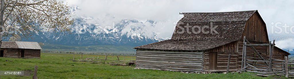 Old Barn with Grand Tetons royalty-free stock photo