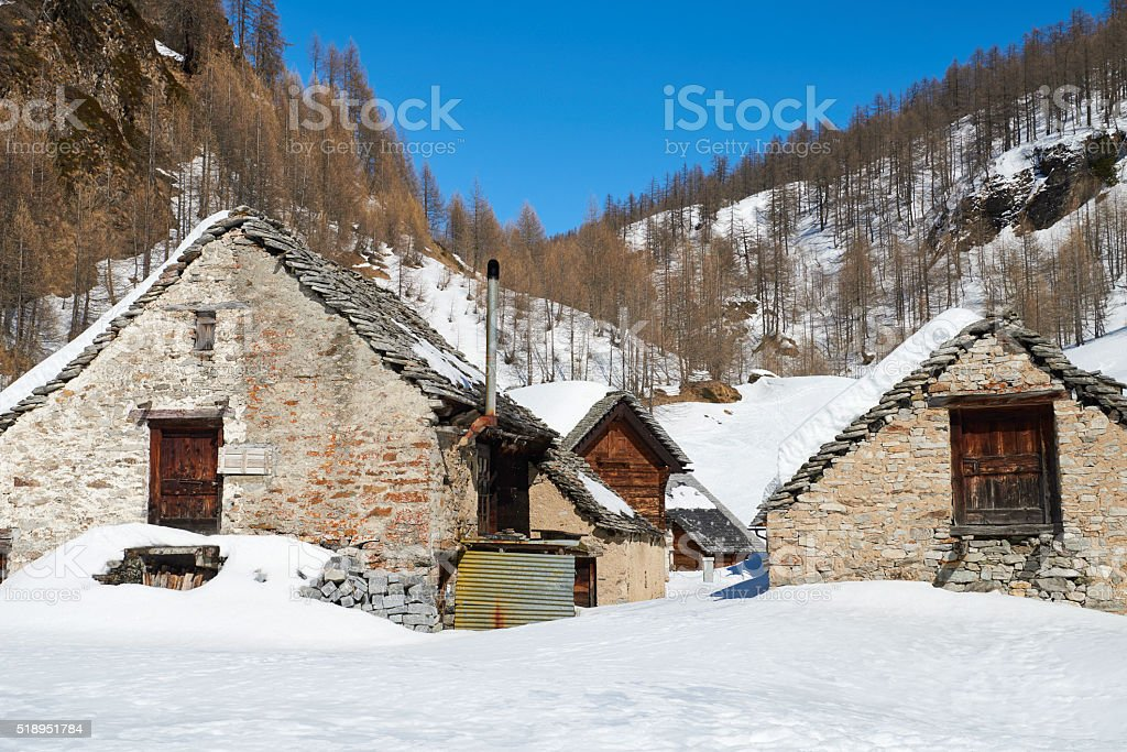 Old Barns in Crampiolo stock photo