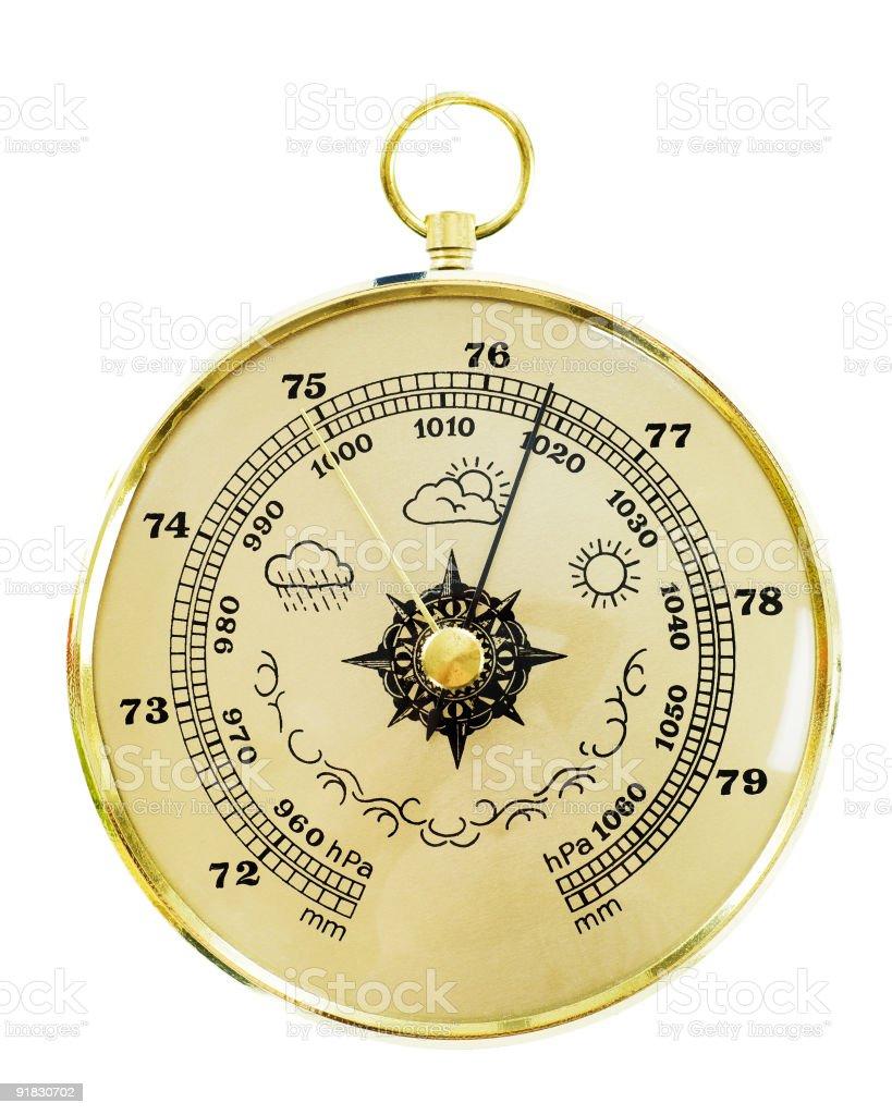 Old barometer isolated on white stock photo