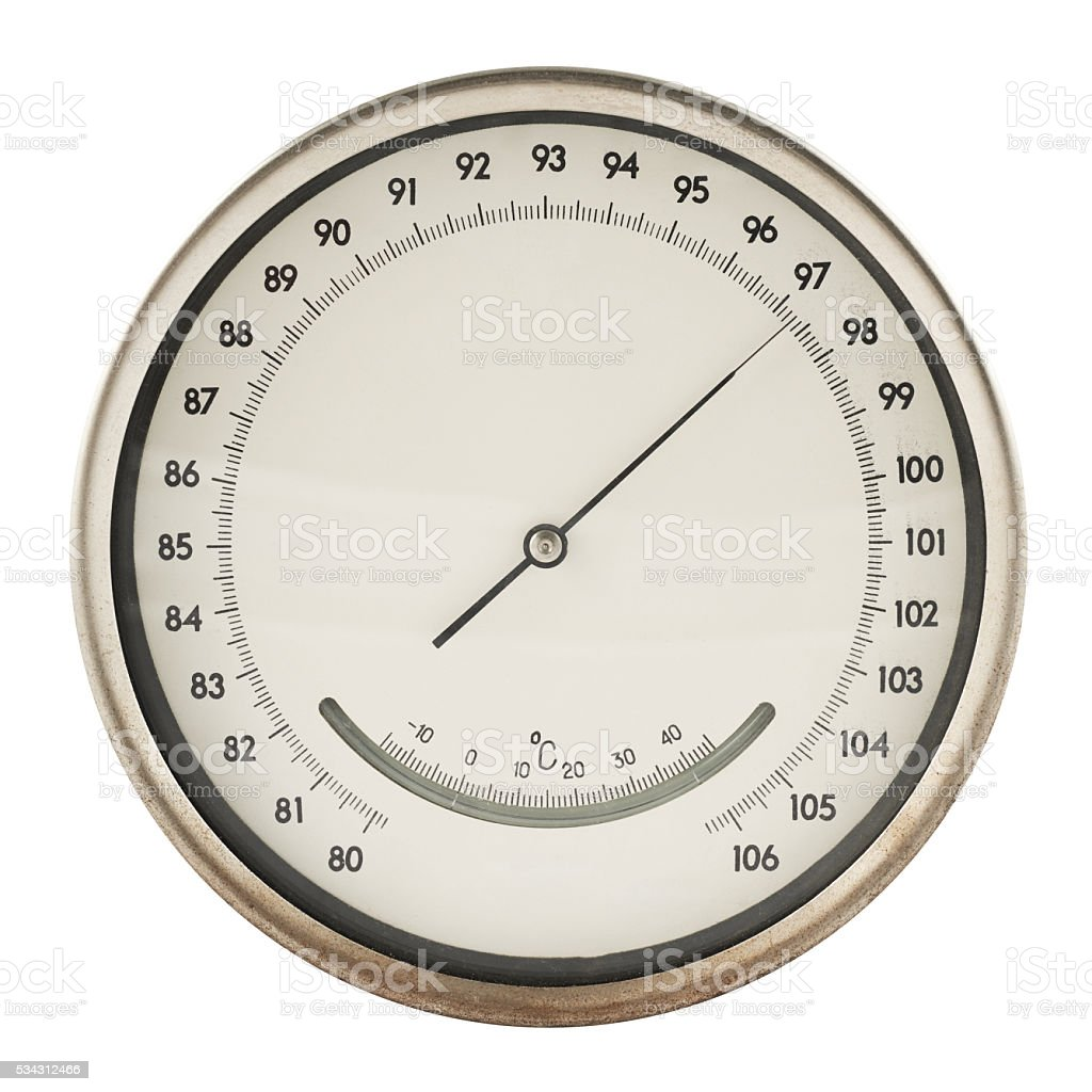 Old barometer isolated stock photo